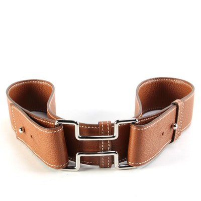 Hermès Marron d'lnde Clemence Leather Belt