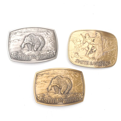"""Smith & Wesson Brass """"The Last Cartridge"""" and """"Brown Bear"""" Belt Buckles"""