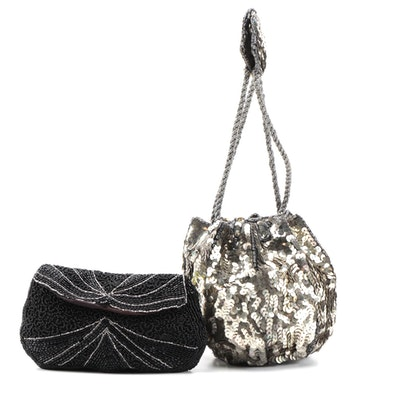 French Silver Sequin Drawstring Evening Bag with Art Deco Beaded Clutch