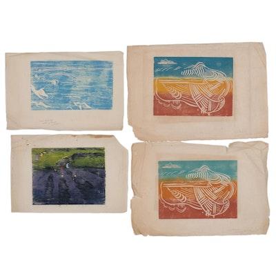 Abstract Woodblocks Attributed to Sarah Langley Mendenhall
