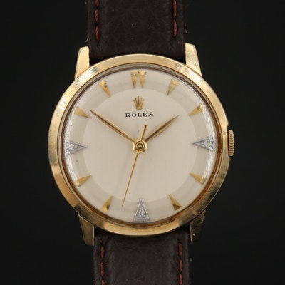 Circa 1960's Rolex 14K Gold and Diamonds Cal. 1215 Stem Wind Wristwatch