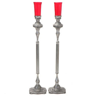 Pair of Red Glass and Metal Mortuary Parlor Floor Candle Holders
