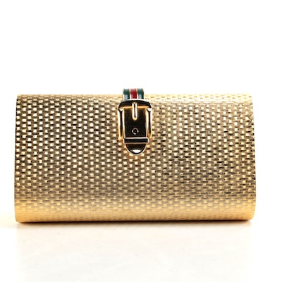 Gucci Gold Minaudière Clutch with Buckle Closure
