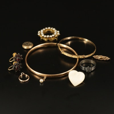Jewelry Including 10K Baby Bracelet and Mother of Pearl Heart Pin