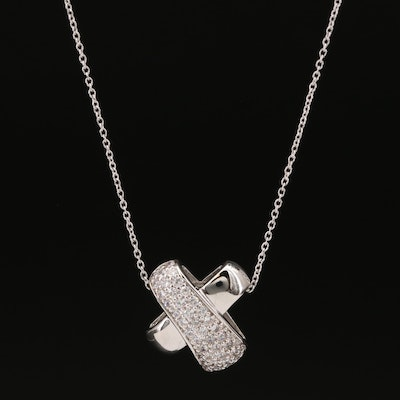 Sterling Pavé Cubic Zirconia X Necklace