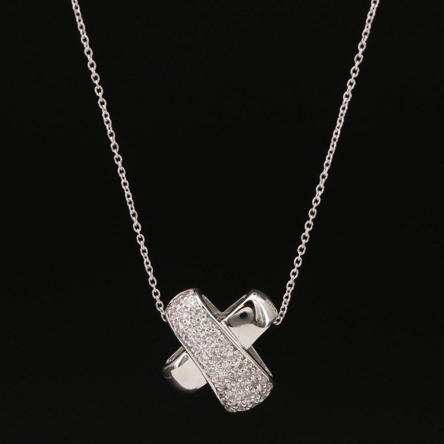Sterling Pavé Cubic Zirconia X Necklace