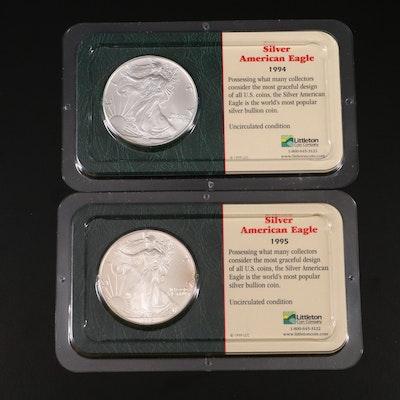 American Silver Eagle Bullion Dollar Coins, 1994 and 1995