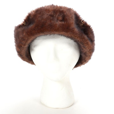 René Michael Faux Fur Cloche Hat with Rhinestones
