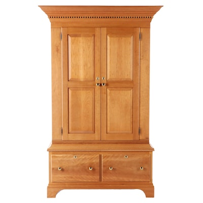 Bench-Made Federal Style Cherrywood Wardrobe, dated 1990