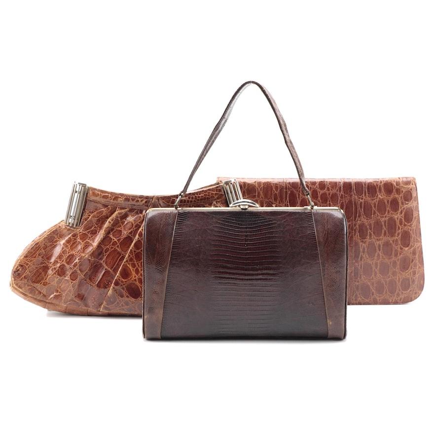 Escort Lizard Skin Frame Handbag with Brown Alligator Skin Clutches