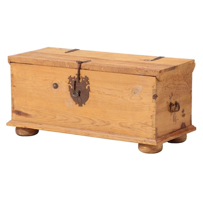 Spanish Colonial Style Metal-Mounted Pine Lift-Lid Chest