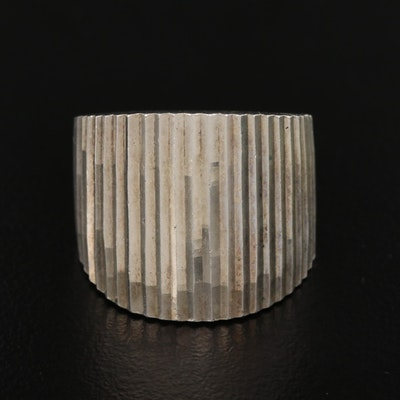Mexican Sterling Silver Ridged Tapered Band