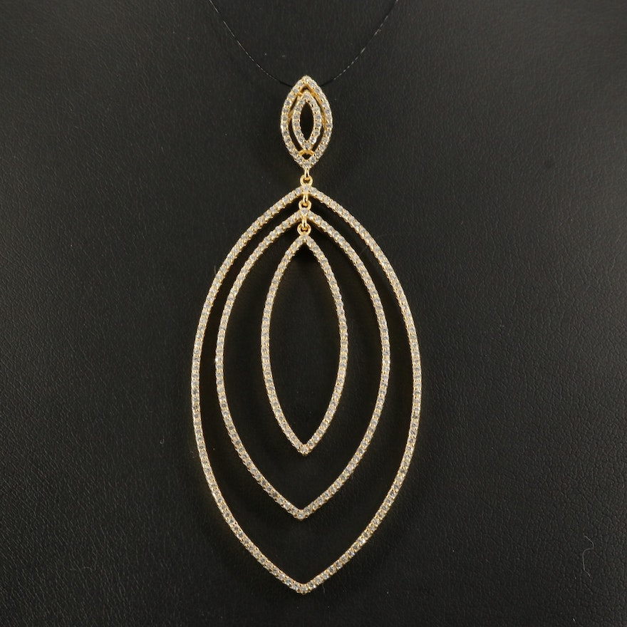 Sterling Cubic Zirconia Marquise Layered Pendant