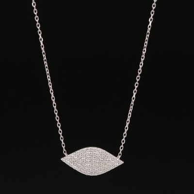 Sterling Pavé Cubic Zirconia Navette Necklace