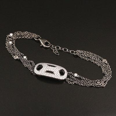 Sterling Silver Cubic Zirconia Multi-Strand Bracelet