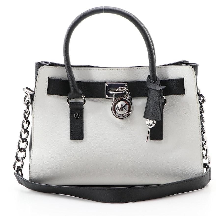 MICHAEL Michael Kors Hamilton Handbag in Black and White Saffiano Leather