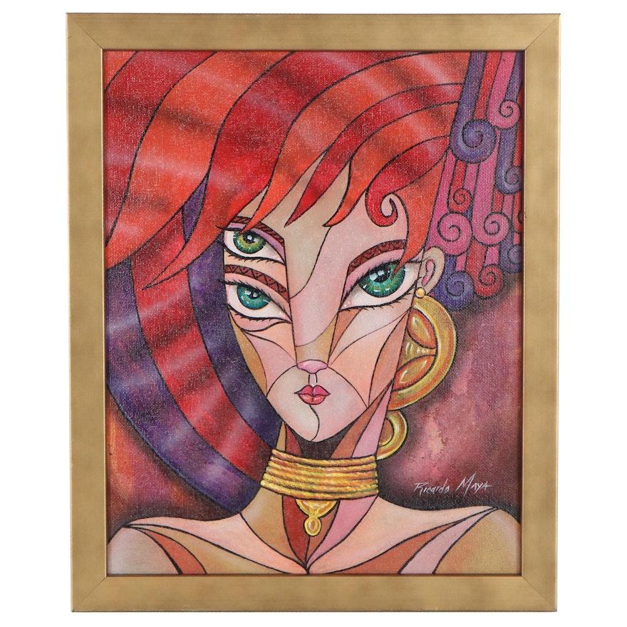 Ricardo Maya Acrylic Painting of Abstract Female Figure
