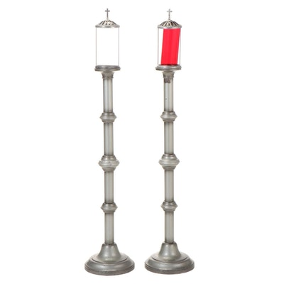 Pair of Metal Mortuary Parlor Floor Candle Holders