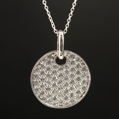 Sterling Cubic Zirconia Disk Necklace