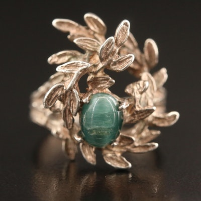 Sterling Silver Cat's Eye Tourmaline Olive Branch Ring
