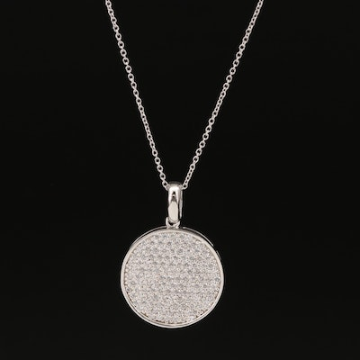 Sterling Pavé Cubic Zirconia Disk Necklace