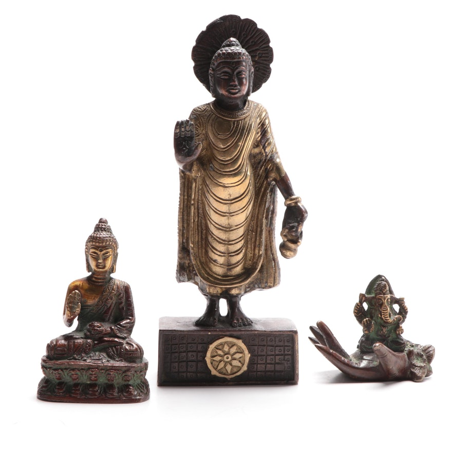 Bronze Standing and Seated Buddhas with Ganesha Hand Statuettes