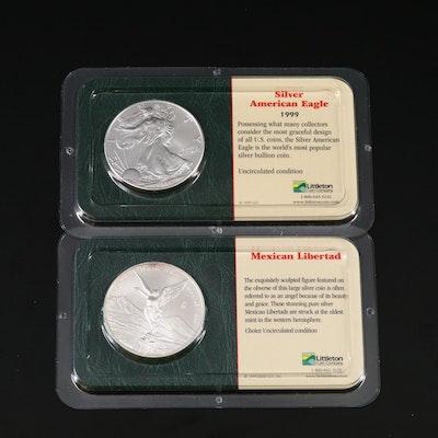 1999 American Silver Eagle and 2000 Mexican Silver Libertad