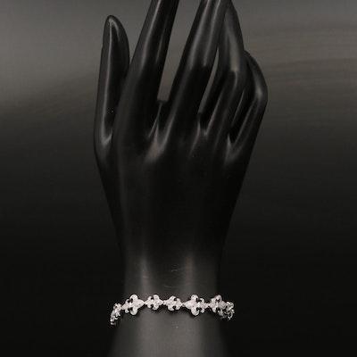 Sterling Cubic Zirconia Fleur-de-lis Bracelet