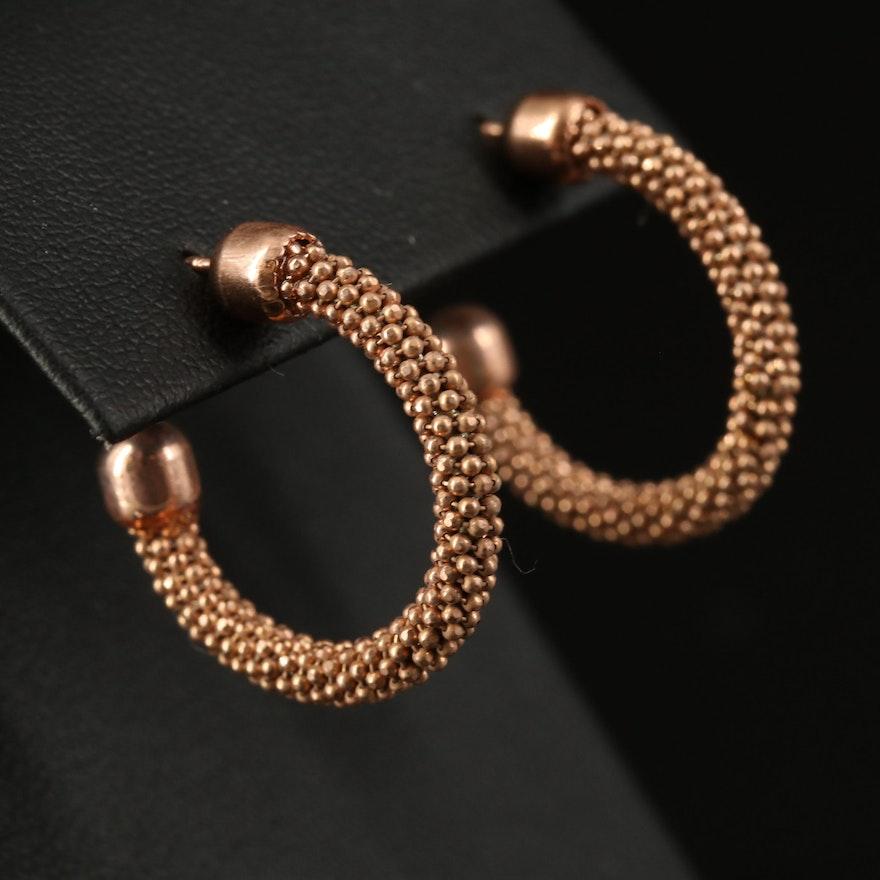 Sterling Wrapped Bead Chain Hoop Earrings