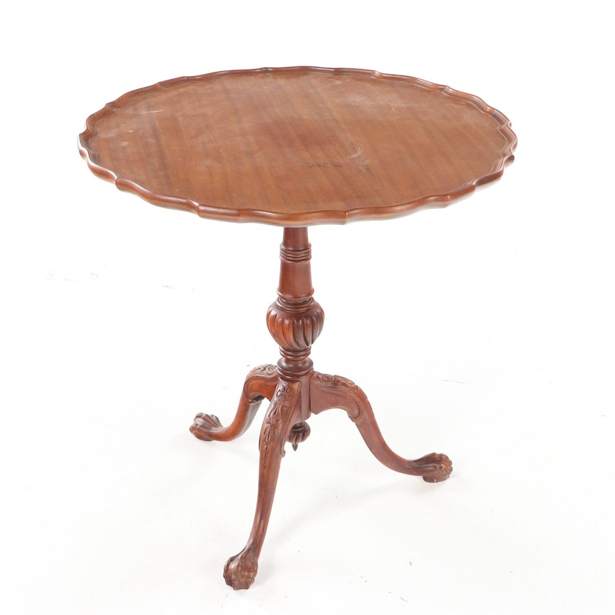 Chippendale Style Mahogany Tilt-Top Tripod Table, 20th Century