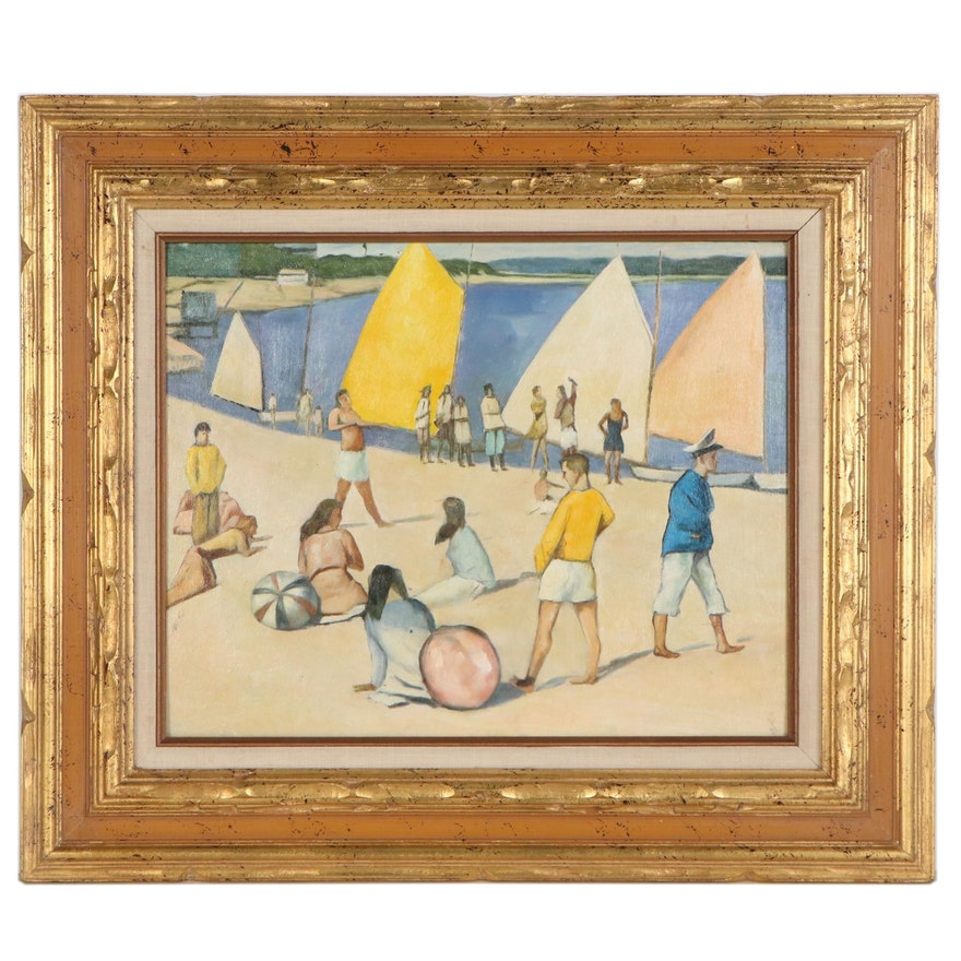 Modern Style Beach Scene Oil Painting, Mid-20th Century