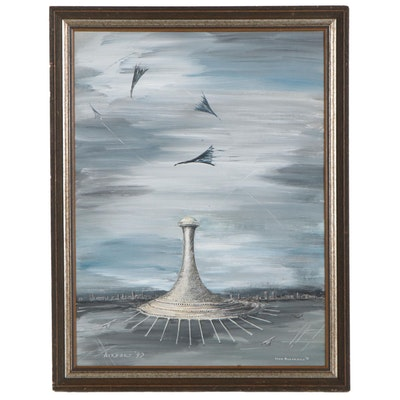 "Ivon Blackman Futuristic Style Oil Painting ""Airport '90,"" 1975"