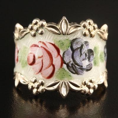 Vintage Sterling Silver Enamel Floral Ring