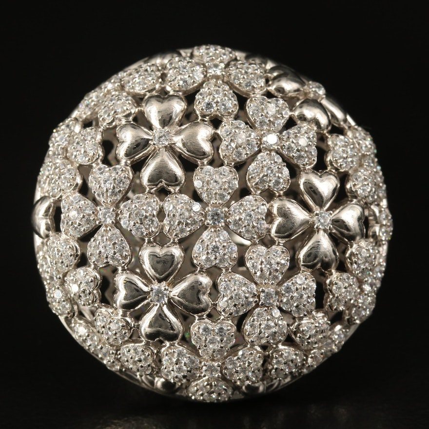 Sterling Cubic Zirconia Flower Openwork Dome Ring