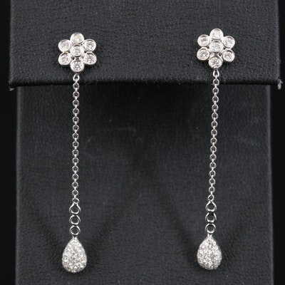 18K Diamond Cluster and Tear Drop Earrings