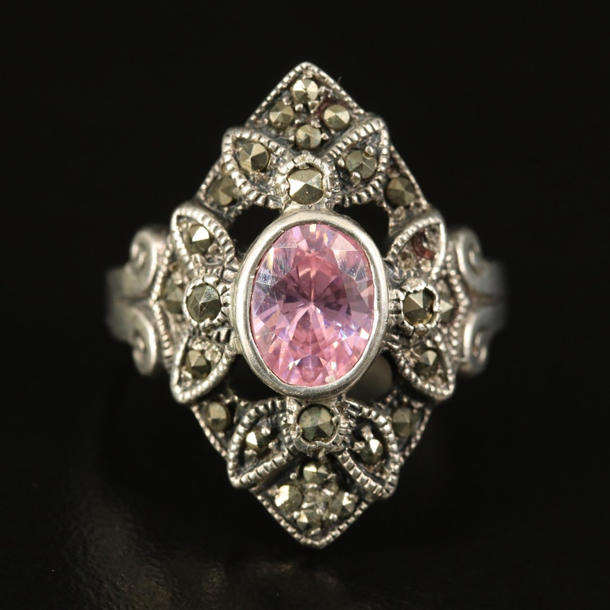 Sterling Cubic Zirconia and Marcasite Ring