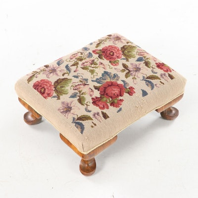 Late Victorian Needlepoint Footstool, Late 19th/Early 20th Century
