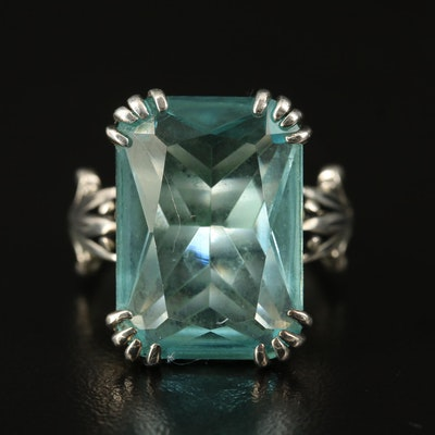 Sterling Glass Statement Scrollwork Ring