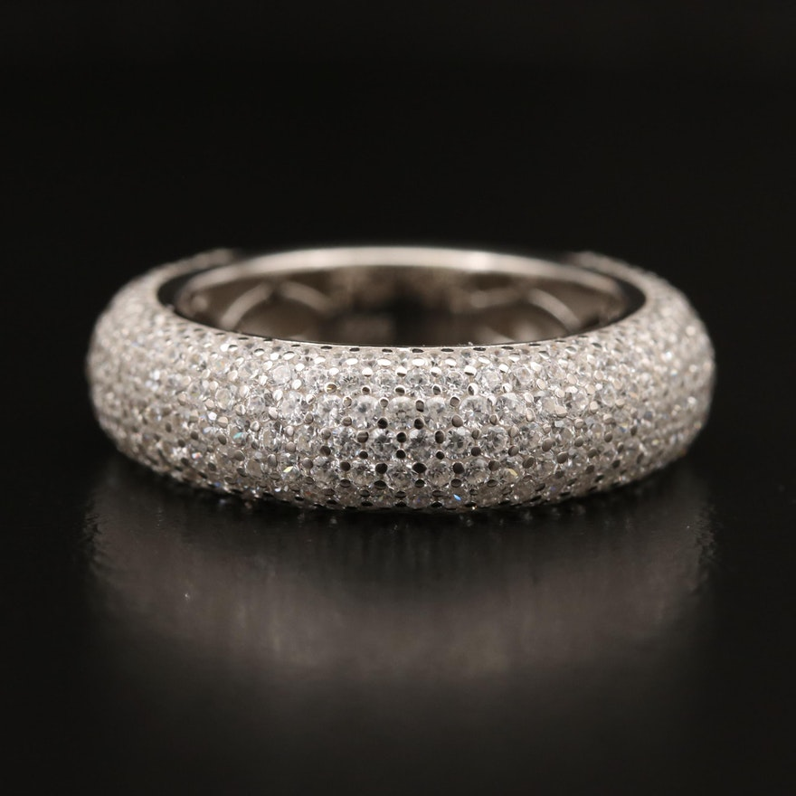 Sterling Silver Pavé Cubic Zirconia Dome Band