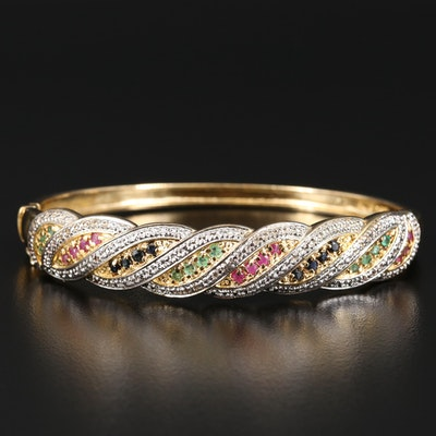 Sterling Silver Ruby, Sapphire, and Emerald Hinged Bangle