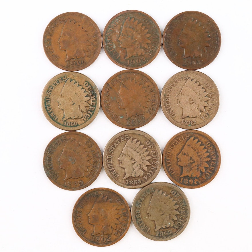 Eleven Indian Head Cent Coins, 1860–1904