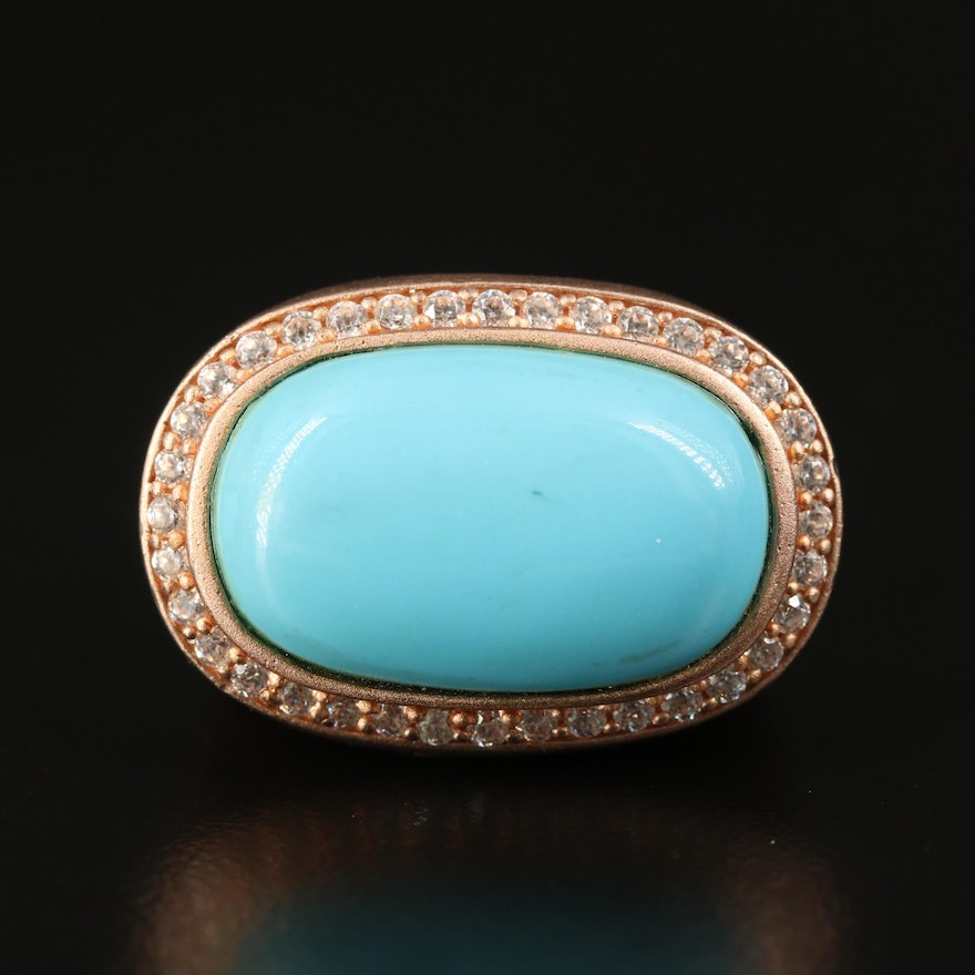 900 Silver Faux Turquoise and Cubic Zirconia Ring