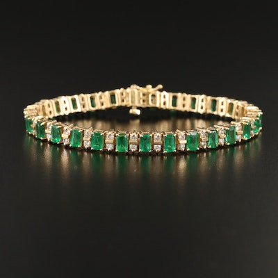 14K Emerald and 1.66 CTW Diamond Line Bracelet