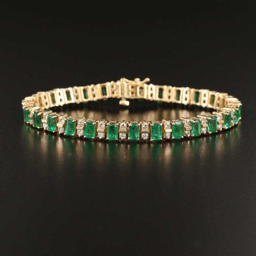 14K Emerald and 1.66 CTW Diamond Line Bracelet