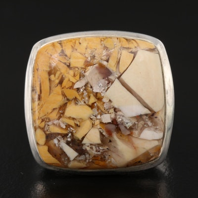 Sterling Silver Ring with Stone Pieces in Resin