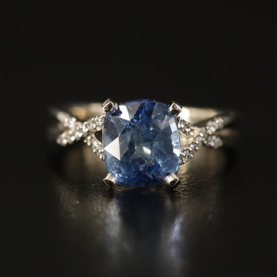 14K Unheated Sri Lankan 3.26 CT Sapphire and Diamond Ring with GIA Report