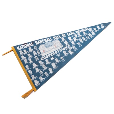 National Baseball Hall of Fame Members Baseball Felt Pennant, Mid-20th Century