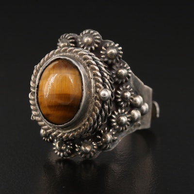 Taxco Mexican Sterling Silver Tiger's Eye Poison Ring