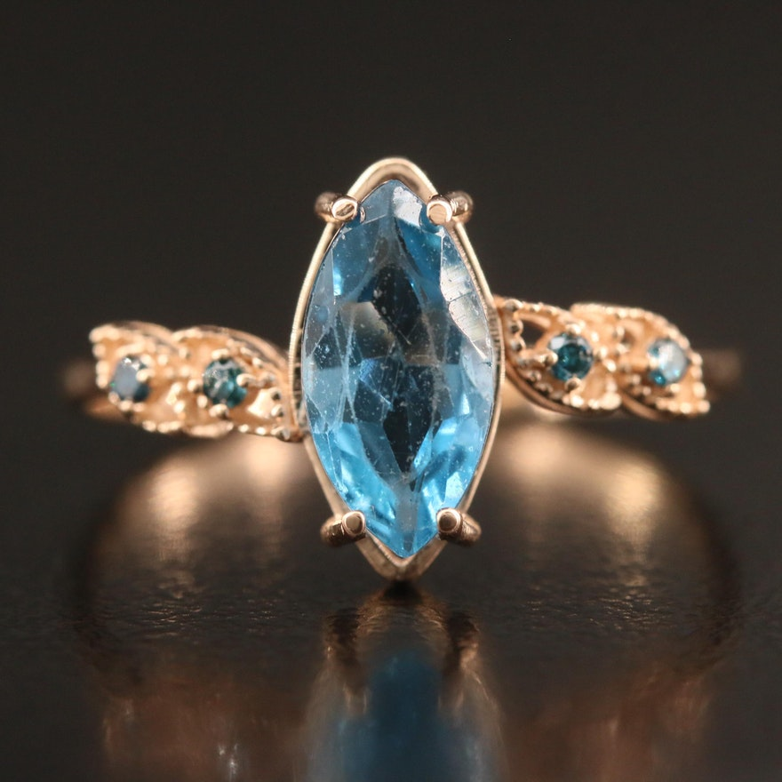 14K Rose Gold Topaz and Diamond Ring