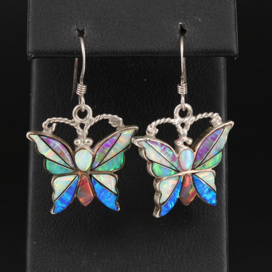 Sterling Silver Opal Inlay Butterfly Earrings